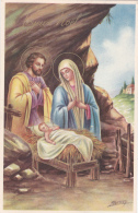 CPSM Nativité Naissance Enfant Jesus Joseph Marie Illustrateur J. VENTURA - Anges