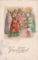 CPSM Nativité Naissance Enfant Jesus Ange Angelot Les Rois Mages Joyeux Noël Illustrateur - Anges