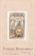 CPA Gaufrée Nativité Naissance Enfant Jesus Ange Angelot Angel Joyeux Noël Illustrateur - Angels