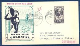 1950 , GUINEA ESPAÑOLA , ED. 294 , DIA DEL SELLO COLONIAL , PRIMER DIA , CIRCULADO A CHICAGO , TRÁNSITO DOUALA - CAMERÚN - Guinea Española