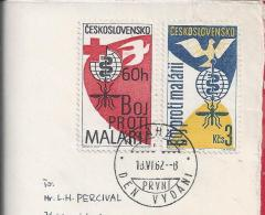 Malaria.Le Paludisme.Plasmodium.Mosquito.Cheers.Disease. Medicine.Two Stamps Czechoslovakia 1962.Vignette Bridge.3 Scans - Medicine