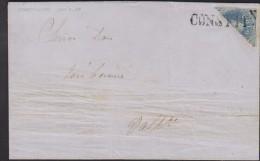O) 1858 CHILE, CONSTITUCION VALPARAISO, WITH BISECT 10 CENTAVOS BLUE, TO VALPARAISO, XF - Chile