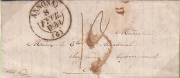 ARDECHE - ANNONAY - 8-2-1840 - TAXE MANUSCRITE 13 - LETTRE AVEC TEXTE POUR NICE ETATS SARDES - DESTINATION.. - Marcophilie (Lettres)