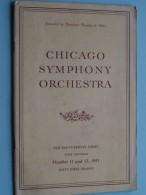 CHICAGO SYMPHONY ORCHESTRA First Program Oct 11 & 12 ( Sixty-First Season ) 1951 !! - Programmes