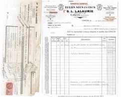 FACTURE + LDC FRUITS SECS 1953 G. L. LALAURIE 47 CANCON - Alimentaire
