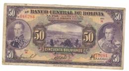 Bolivia 50 Bolivianos, 1928, G/VG,  FREE SHIP. To U.S.A. - Bolivia