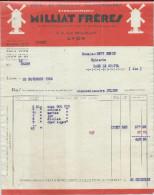 Pub Sur Facture  Ets Milliat Frères  Pates Et Produits Alimentaires à Lyon Pour Bage Le Chatel  Du 23/11/1932 - Levensmiddelen