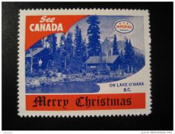 On Lake O´Hara BC Toronto IMPERIAL Oil Touring Road Map Poster Stamp Label Vignette Viñeta CANADA Christmas - Vignette Locali E Private