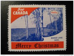 Madge Lake Sask Toronto IMPERIAL Oil Touring Road Map Poster Stamp Label Vignette Viñeta CANADA Christmas - Vignette Locali E Private