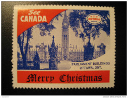 Parliament Buildings Ottawa On Toronto IMPERIAL Oil Touring Road Map Poster Stamp Label Vignette Viñeta CANADA - Vignette Locali E Private