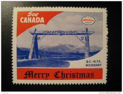 BC Alta Boundary Great Divide Toronto IMPERIAL Oil Touring Road Map Poster Stamp Label Vignette Viñeta CANADA - Vignette Locali E Private