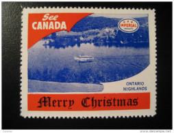 Ontario Highlands River Ship Toronto IMPERIAL Oil Touring Road Map Poster Stamp Label Vignette Viñeta CANADA - Vignette Locali E Private