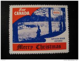 Nipigon River Ontario Toronto IMPERIAL Oil Touring Road Map Poster Stamp Label Vignette Viñeta CANADA Christmas - Vignette Locali E Private
