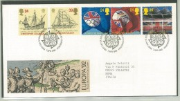 FDC GRAN BRETAGNA - GREAT BRITAIN - ANNO 1992 - ROYAL MAIL - EDINBURGH -  EUROPA '92 - COLOMBO - OPERATION RALEIGH - OLI - FDC