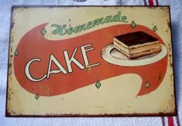 PLAQUE EN METAL SERIGRAPHIEE CAKE HOMEMADE REEDITION 27.5 X 18.5 CM BE - Plaques En Tôle (après 1960)