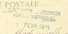"""25 - Besançon - Cachet """"Place Forte Besançon Hôpital Temporaire Sur CPA Lunéville Prisonniers Allemands - Marcophilie (Lettres)"""