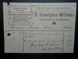 D. Grootjans-Willems Muziekhandel Gasverlichting Dender En Schelde Dendermonde Termonde - Bélgica