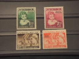 YUGOSLAVIA - 1938 INFANZIA 4 Valori, Soprast. - NUOVI(+) - Nuovi