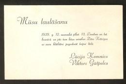 Latvia Latvian Old Paper Wedding Invitation Announcement 1939 - Boda