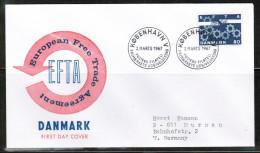 EUROPEAN IDEAS 1967 DK MI 450 X FDC EFTA USED DENMARK - Idee Europee