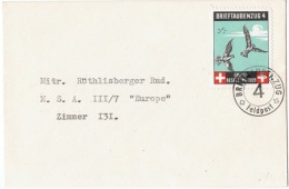 PIG-L1 - SUISSE Feldpostbrief Brieftaubenzug 4 Sur Lettre Avec Pigeons - Poste Militaire