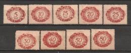 Timbres - Liechtenstein - 1920 - Taxe - Série De 9 Timbres -