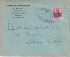 "Bf ""USINES METALL DU HAINAUT/ COUILLET""  PZ BZ 10 C. ""COUILLET 1915"" + Censuur CHARLEROI - Guerre 14-18"