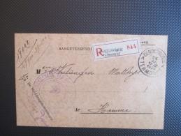 Aangetekende Zending V D Rechtbank Van Oorlogsschade Uit Dendermonde  Naar Hamme - WW I