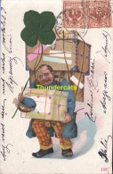 CPA CARTE EN RELIEF AVEC TISSUS FACTEUR HOMME ** EMBOSSED CARD WITH ADDED TISSU FABRIC POSTMAN MAN - Mestieri