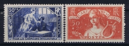 France: Yv Nr  307 - 308 MH/* Falz/ Charniere 1935