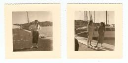 2 PHOTOS ORIGINALES SAINT TROPEZ 1957 FEMME MODE VINTAGE ANNÉES 1950 1960 - Anonyme Personen
