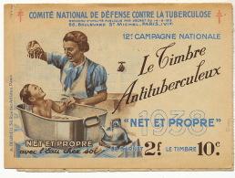 Tuberculose Carnet Timbre 1938 Baignoire Enfant Hiver Au Soleil D´ Algerie Fly Tox Pub Heudebert Galeries Barbès - Health
