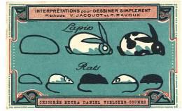 Chromo Chicorée Extra Voelcker-Coumes à Bayon ... Dessiner Simplement ...méthode Jacquot Et Ravoux ... Lapin, Rats - Cromo