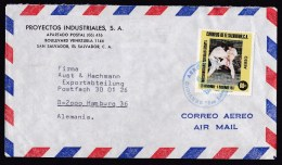 El Salvador: Airmail Cover To Germany, 1977, 1 Stamp, Sports, Teakwondo, Judo, Karate?, Rare Real Use (traces Of Use) - El Salvador