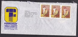 Chile: Cover To Germany, 1980, Strip Of 3 Stamps, Protection Of Disabled People, Wheelchair, Nurse (minor Damage) - Chili