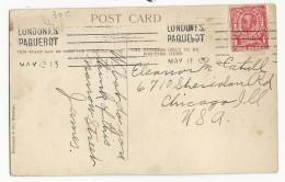 1912 - MARITIME - CARTE De GIBRALTAR Pour CHICAGO (USA) Avec RARE MECA PAQUEBOT LONDON F.S - Gibraltar