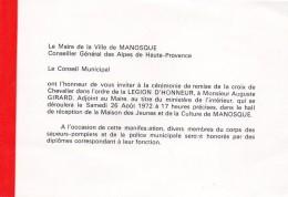 55Nja   04 Manosque Carte Invitation Medaille Croix De Chevalier Legion D'honneur En 1972 - Manosque