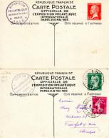 Lot 2 Cartes Postales Expo Philatélique Internationale Mai 1925 - Paris - Timbres Différents - Entiers Postaux