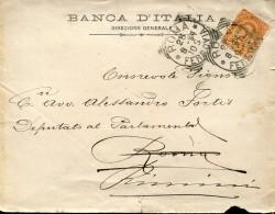 "7816 Italia, Circuled   Cover 1894 From Banca Italia  Roma  To Rimini , With  Perfin ""B.N."" - 1878-00 Umberto I"