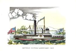 NAVI - BATTELLO FLUVIALE AMERICANO (1890) - ILLUSTRATORI NICOULINE LAVARELLO - Altre Illustrazioni