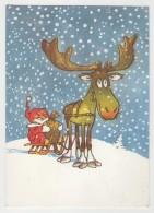 GOOD USSR / ESTONIA Postcard 1988 - Santa Claus & Reindeer - Kerstman