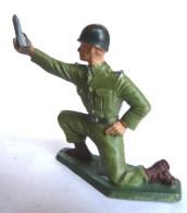 SOLDAT FIGURINE FIG STARLUX 1958 SERVANT MORTIER  5007 Socle Vert Kaki (1) - Starlux