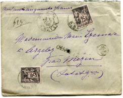 FRANCE LETTRE CHARGEE AFFRANCHIE AVEC DEUX N°97 DEPART PARIS 1 OCT 98 R. BAYEN POUR LA FRANCE - Marcophilie (Lettres)