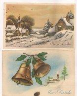 Ldiv.087.090 - Buon Natale - Joyeux Noël  - Lot De Deux  Cartes , Une Avec Paillettes,  L'autre Cloches - Christmas