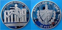 CUBA 10 P 2002 ARGENTO PROOF SILVER OLYMPIC GAMES ATHENS SIDNEY 2004 RUNNER PESO 20g TITOLO 0,999 CONSERVAZIONE FONDO SP - Cuba