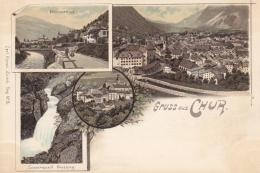 Chur, Gruss Aus - Farbige Litho - Plessurthal, Sauerquell Passug - GR Grisons