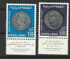 "Maroc Aerien YT 117 & 118 Vignette (PA) "" Monnaies "" 1969 Neuf** - Morocco (1956-...)"