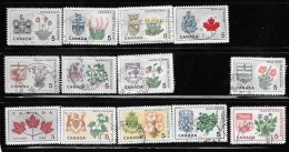 CANADA, 1964-6   CLEARANCE Of USED STAMPS  # 417-29A     PROVINCIAL FLOWERS & COATS-OF-ARMS  # 425  MISSING  USED - 1952-.... Règne D'Elizabeth II