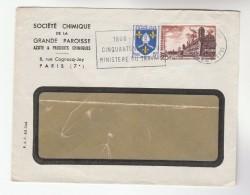 1964 FRANCE Stamps ADVERT COVER NITROGEN CHEMICALS Societe Chimique Grande Parosse SLOGAN MINISTERE DU TRAVAIL 5th Anniv - Covers & Documents