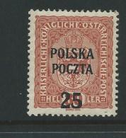 1919.AUSTRIAN  OCCUPATION , 25 / 80 H WITH Optd  POLSKA POCZTA , KRAKOW  ISSUE - ....-1919 Governo Provvisiorio